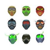Set helmets and masks for sports Devilish horrible masks Scary