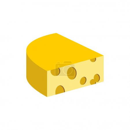 Cheese on a white background. Piece of dairy product. Vector ill