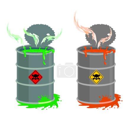 Illustration pour Baril de déchets toxiques. Conteneur ouvert Biohazard. Gris avec baril rouge de liquide radioactif. L'acide vert est apparu. Illustration vectorielle - image libre de droit