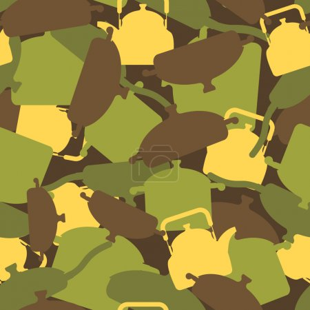 Illustration for Military texture of kitchen utensils. Camouflage army seamless pattern from pots, pans and roasters. Soldiers seamless background for soldier canteen and cook. - Royalty Free Image