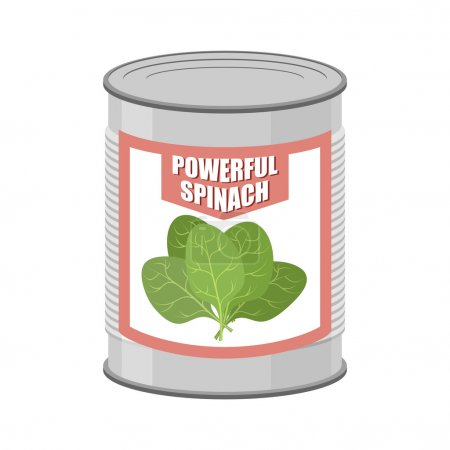 Illustration for Powerful spinach. Canned spinach. Canning pot with lettuce leaves. Delicacy for vegetarians. Vector illustratio - Royalty Free Image