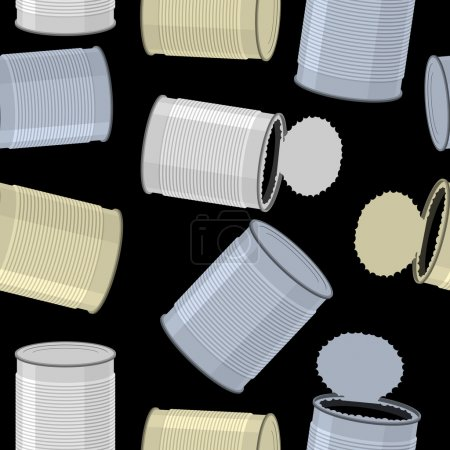 Illustration for Cans trash vector background. Seamless pattern Tin - Royalty Free Image