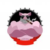 Strong pig in glasses and with a cigar Logo for Sports Club Fa