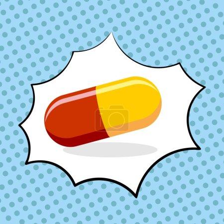 Illustration pour Médicament pilule pop art. Médicaments. Illustration vectorielle - image libre de droit