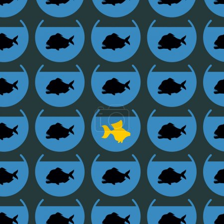 Goldfish in flock Piranha seamless pattern. Not like other. Diff