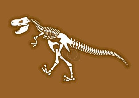 Dinosaur skeleton. Ancient animal bones in ground. FossilTyranno