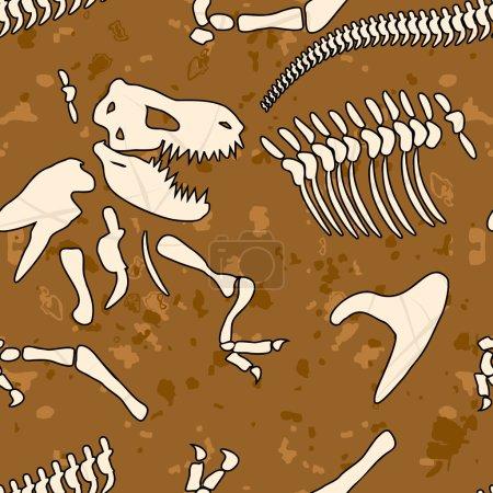 Fossil dinosaur seamless pattern. Bones of Tyrannosaurus vector