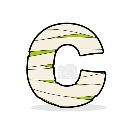 Letter C Egyptian zombies. ABC sign coiled medical bandages. Mon