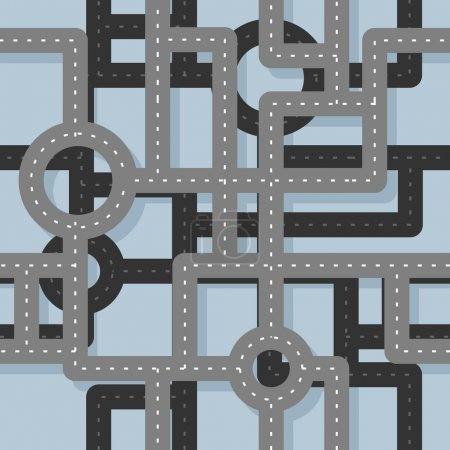 Road seamless pattern. Map Highway background. Endless road high