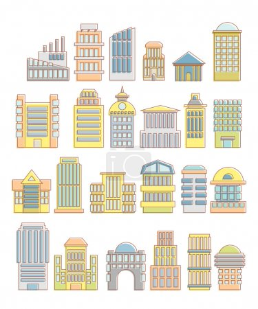 Collection of buildings, houses and architectural objects. Urban