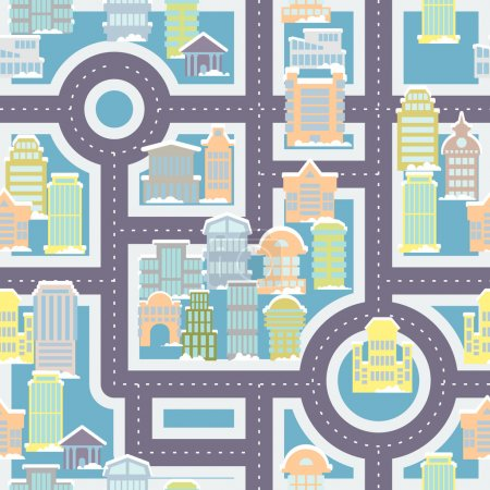 City street seamless pattern. Public buildings and skyscrapers.