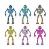 Set colored robots Retro mechanical toys Vintage space cyborgs