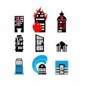 Disaster icon collection Fire earthquake and flood Destroyed