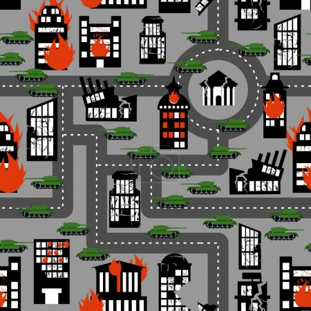 Tanks in seamless pattern. Background of hostilities. Conflict b