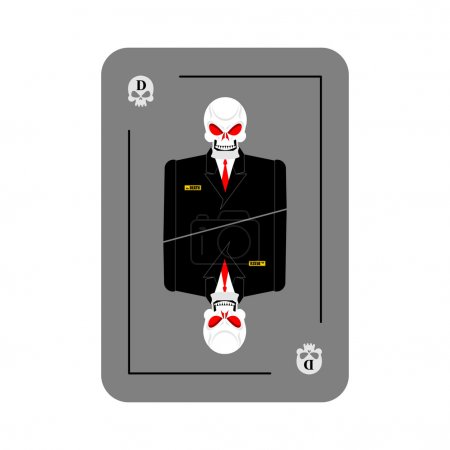 Playing card death. Skeleton in business suit. New concept of pl