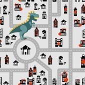 Aggressive dinosaur destroys urban building seamless pattern Angry Monster breaks city Horrible Godzilla in town Destroyed municipal institutions Fire in  heart of   city