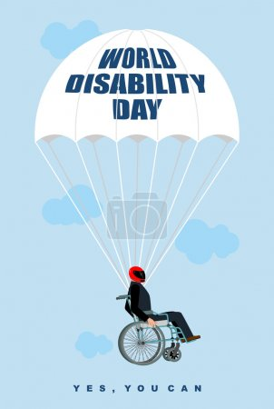 World Disabilities day. Man in  wheelchair goes down on parachut