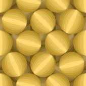 Gold 3D Balls seamless pattern Three-dimensional vector backgro
