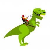 Dinosaur rider Man sits on back of huge wild Raptor Teamster d
