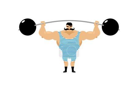 Vintage Strongman. Ancient athlete. Retro bodybuilder barbell. S