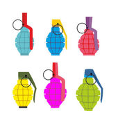 Set colored hand grenades Fun colorful military ammunition Army shells