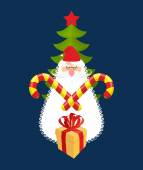 Emblem of Christmas: Santa Claus and gift Mint sweet sticks Against backdrop of Christmas tree Logo for new year