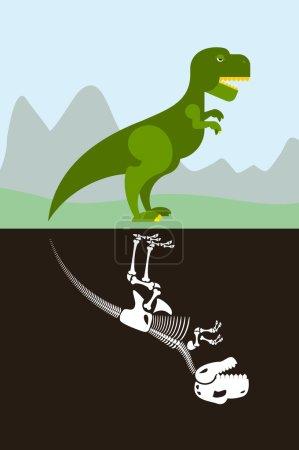 Tyrannosaurus in nature. Skeleton in ground soil. Jurassic monst