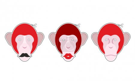 Set mask red monkey: primacy with moustache. Monkey with big red
