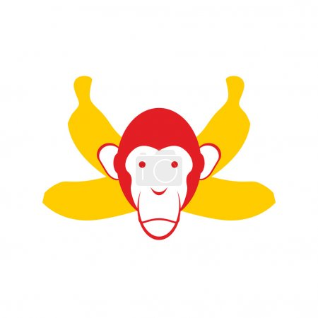 Monkey and bananas. Chimpanzee head and crossed bananas. Red Mon