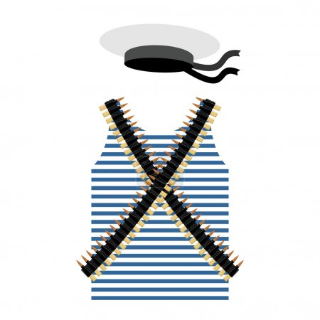Striped vest shirt-clothing sailor man. Tape with bullets. Cartr