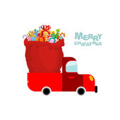Merry Christmas Machine carries bag of gifts Car and Red sack