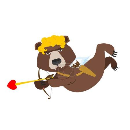 Bear Cupid. Funny wild animal in yellow wig. Shaggy Brown beast