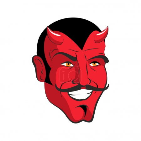 Red devil. Red head Merry demon with horns. Satan ...