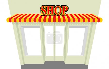 Shop. Storefront with visor. Isolated shop building. An empty co