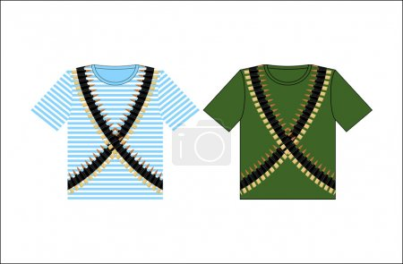 T-shirts with print cartridge belt. Clothing for Festival on Feb