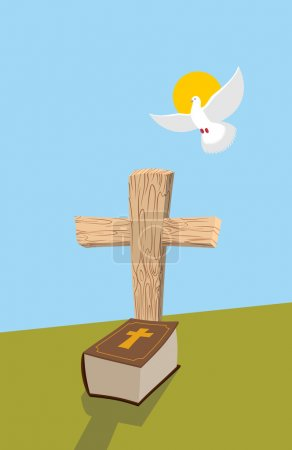 Cross and Bible. Christian grave. Soul of man in form of white d