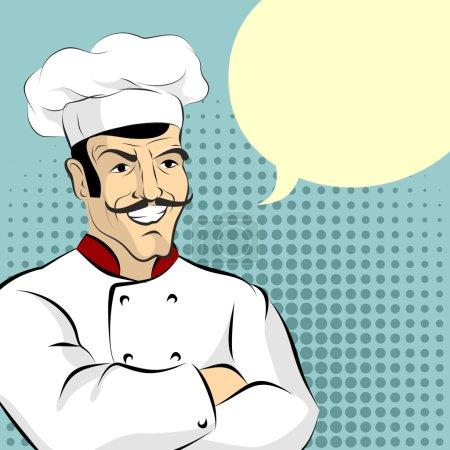 Illustration pour Cuire et faire bouillir. Cheesy chef italien dit. Ouvrier de cuisine professionnel dans le style pop art - image libre de droit