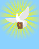 Dove and Bible Holy Bible in its paws White pigeon Background