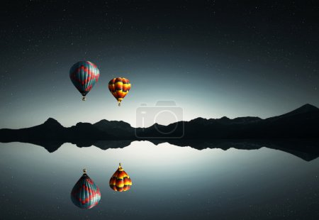 Ballons reflection in lake