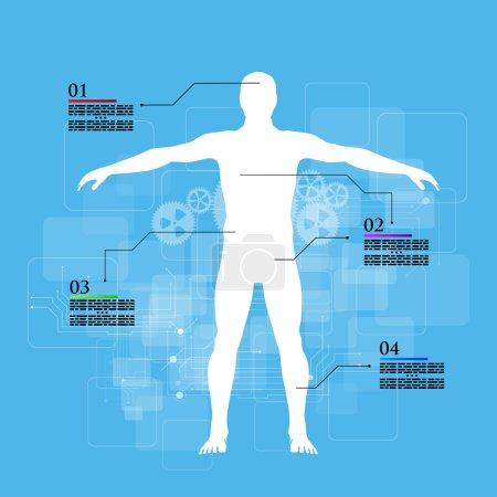 Medicine infographics. Schematic description of the human body.