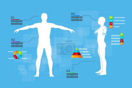Illustration for Vector illustration of medicine infographics. Schematic description of the human body. - Royalty Free Image