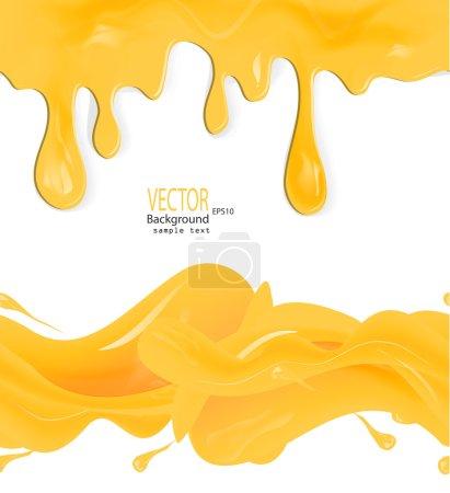Illustration pour Un ensemble de miel vectoriel dégouline des motifs et taches sans couture sur fond blanc - image libre de droit