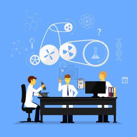 Illustration pour Scientifiques en laboratoire effectuant des recherches, illustration vectorielle - image libre de droit