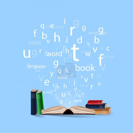 open book with departing letters