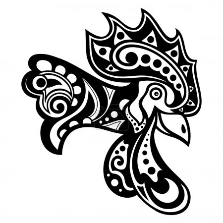 Vector Tribal Decorative Rooster Head