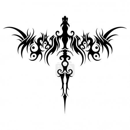Illustration pour Dragon tribal vecteur. Conception à motifs - image libre de droit