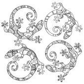 Vektorové kmenové dekorativní ještěrka