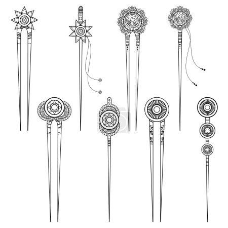 Illustration for Vector Illustration of Elegant Hair Accessories. Design Elements - Royalty Free Image