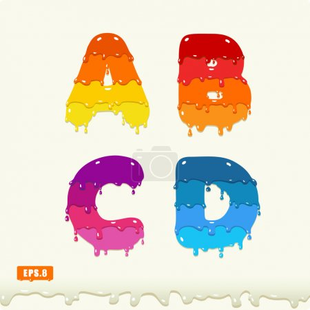 Illustration for 3d Joyful a set of capital letters painted with smudges and drops, A, B, C, D, eps8 - Royalty Free Image