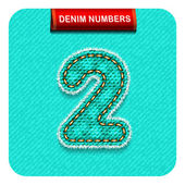 blue-green color denim number